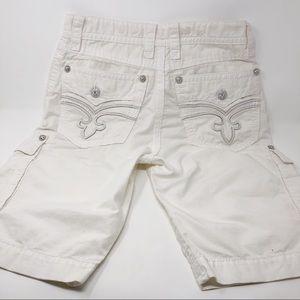 ROCK REVIVAL Mens Slim White Shorts Khaki 32